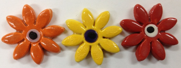 116---x3-daisy's-in-orange-red-and-yellow-