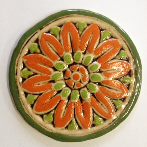 535--flower-tile--orange-and-lime