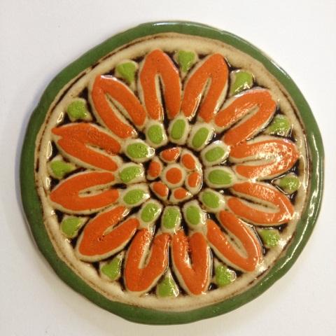 535--flower-tile--orange-and-lime